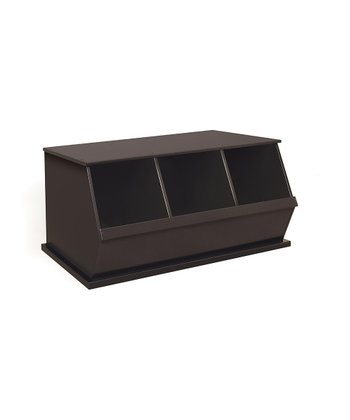 Espresso Three-Bin Storage Cubby