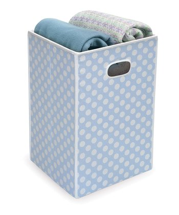 Blue Polka Dot Folding Hamper