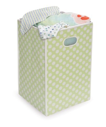 Sage Polka Dot Folding Hamper