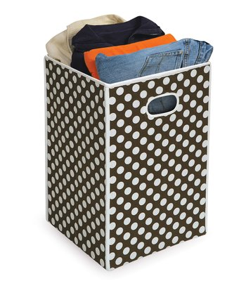 Brown Polka Dot Folding Hamper