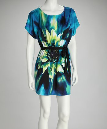 Teal & Lime Flower Sash Dress