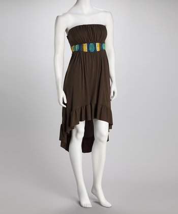 Bailey Blue Brown Beaded Hi-Low Dress