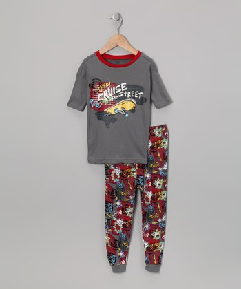 Dark Gray 'Cruise the Street' Pajama Set - Boys