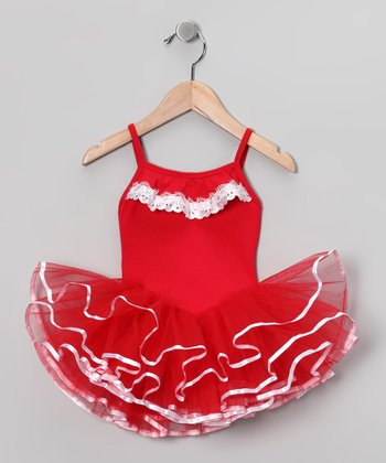 Red & White Lace Leotard - Girls