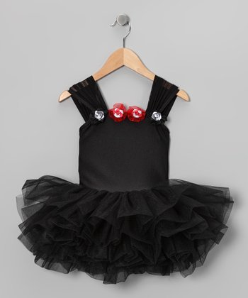Black Rosette Tutu Leotard - Girls