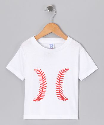 White Baseball Tee - Toddler & Kids