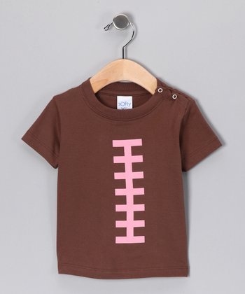 Brown & Pink Football Snap Tee - Infant