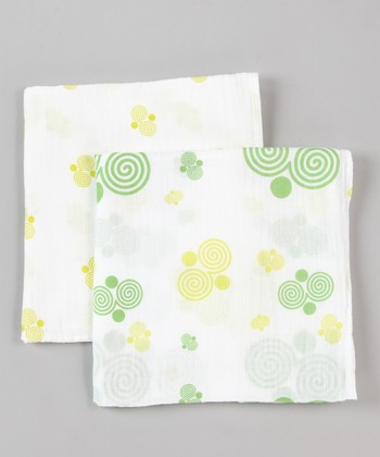 Fresh Green Swirl Organic Swaddling Blanket Set