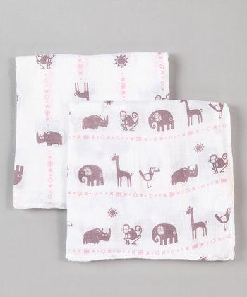 Pink Zoo Organic Swaddling Blanket Set