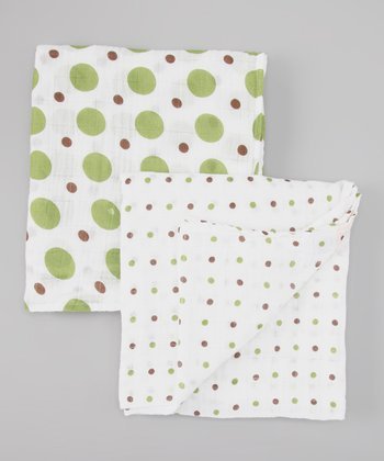Green & Brown Polka Dot Organic Swaddling Blanket Set
