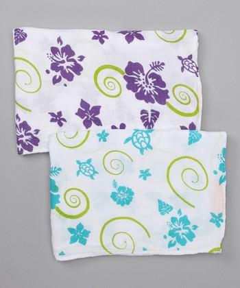 Purple & Teal Hawaiian Organic Swaddling Blanket Set