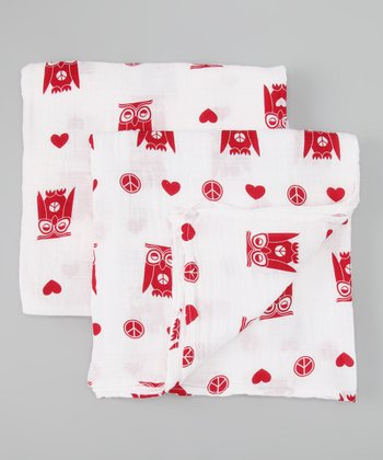 Peace & Love Owl Organic Swaddling Blanket Set