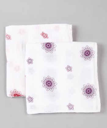 Red & Purple Zen Flower Organic Swaddling Blanket Set