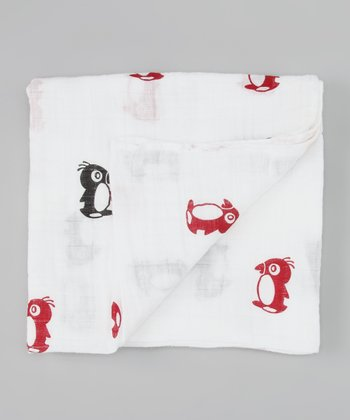 Red & Black Penguin Organic Swaddling Blanket
