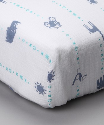 Blue Zoo Organic Muslin Crib Sheet