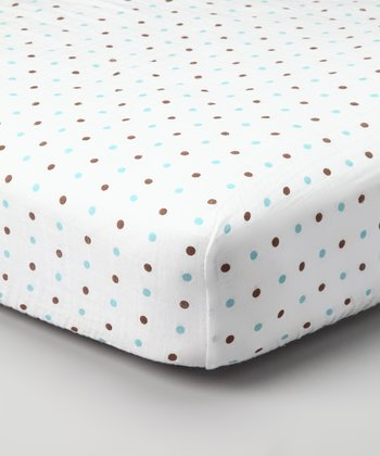 Blue & Brown Polka Dot Organic Muslin Crib Sheet