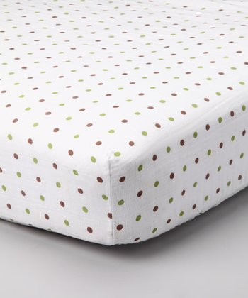 Green & Brown Polka Dot Organic Crib Sheet