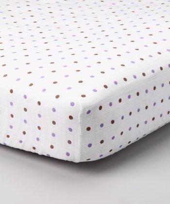 Purple & Brown Polka Dot Organic Crib Sheet