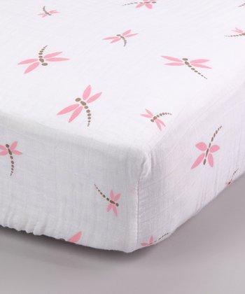 Pink Dragonfly Organic Muslin Crib Sheet