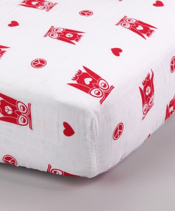 Red Peace & Love Organic Muslin Crib Sheet