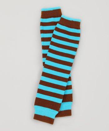 Turquoise & Brown Stripe Organic Leg Warmers