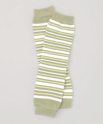 Olive Stripe Organic Leg Warmers