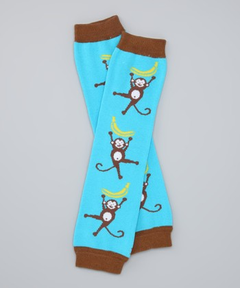 Turquoise Monkey Organic Leg Warmers
