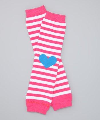 Pink Heart Stripe Organic Leg Warmers