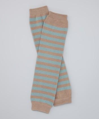 Blue & Brown Stripe Organic Leg Warmers