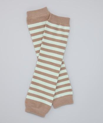 Lime & Brown Stripe Organic Leg Warmers