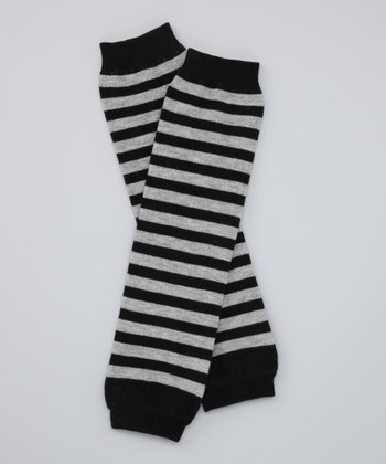 Black & Gray Stripe Organic Leg Warmers