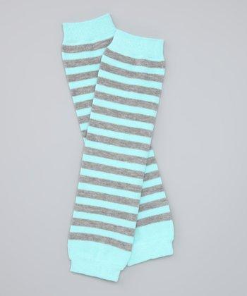 Aqua & Gray Stripe Organic Leg Warmers