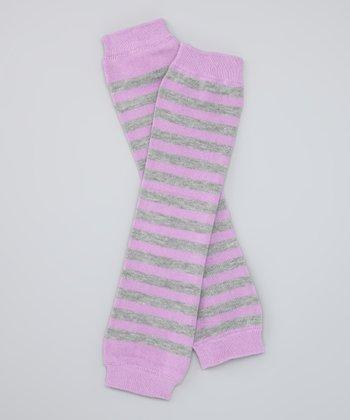 Pink & Gray Stripe Organic Leg Warmers