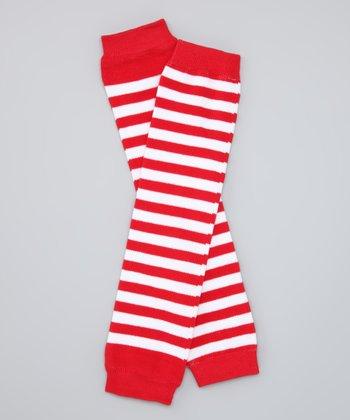 Red & White Stripe Organic Leg Warmers