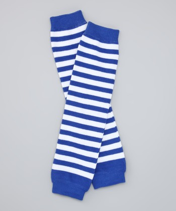 Navy Blue & White Stripe Organic Leg Warmers