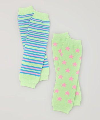 Green Stars & Stripes Organic Leg Warmers Set