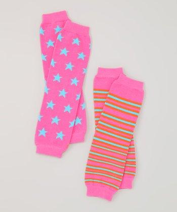 Pink Stars & Stripes Organic Leg Warmers Set