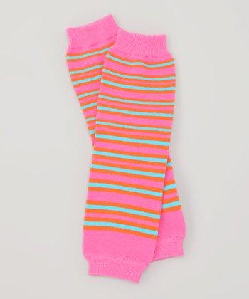 Pink & Orange Stripe Organic Leg Warmers
