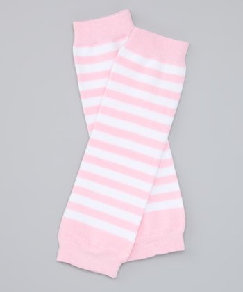 Pink & White Stripe Organic Leg Warmers