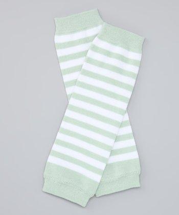 Seafoam & White Stripe Organic Leg Warmers