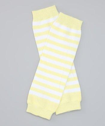 Yellow & White Stripe Organic Leg Warmers