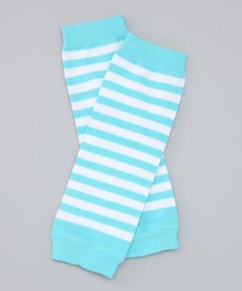 Blue & White Stripe Organic Leg Warmers