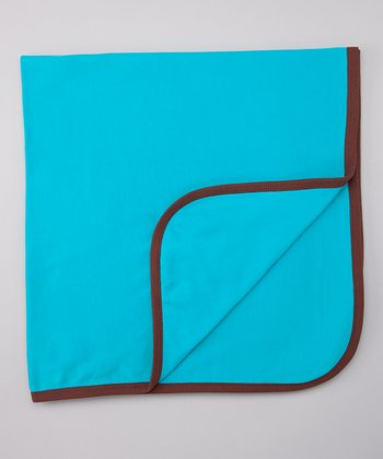 Teal Double-Layer Organic Stroller Blanket