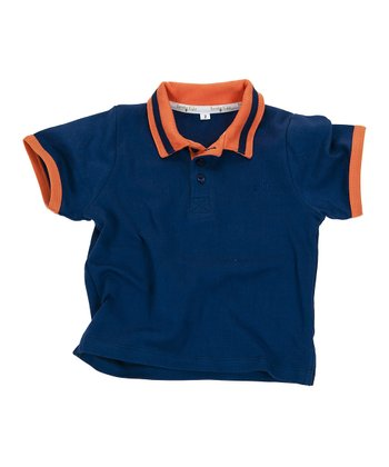 Navy & Orange Gumdrop Organic Polo - Infant, Toddler & Boys