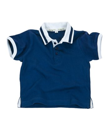 Navy & White Gumdrop Organic Polo - Infant & Boys