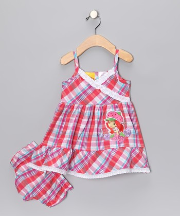 Fuchsia & Aqua Plaid Dress & Bloomers - Infant, Toddler & Girls