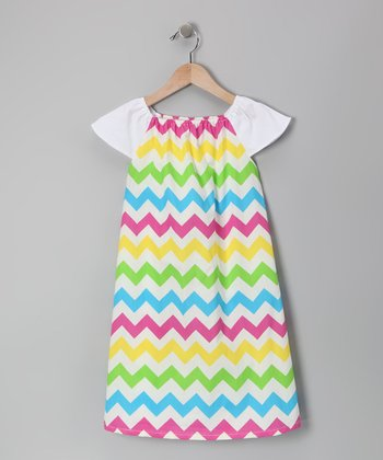 Rainbow Zigzag Cap-Sleeve Dress - Infant, Toddler & Girls