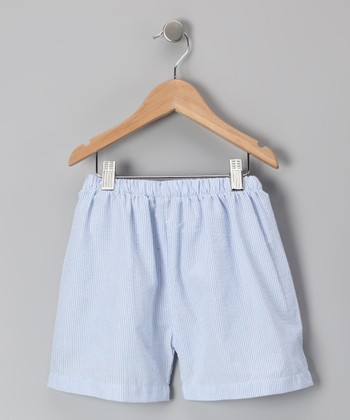 Light Blue Seersucker Shorts - Kids
