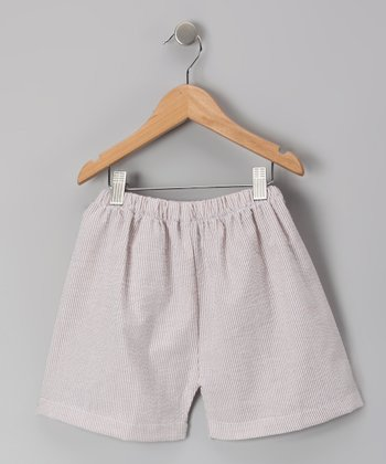 Brown Seersucker Shorts - Infant & Boys