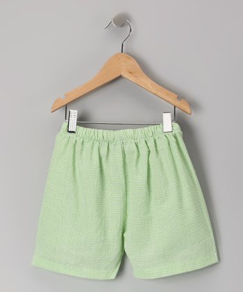 Lime Green Gingham Shorts - Infant, Toddler & Kids